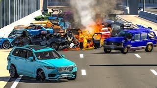 MASSIVE SPIKE STRIP PILE UP CRASHES #1 - BeamNG Drive | CRASHdriven
