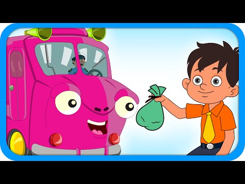 Pink Bus - Wheels On The Bus Go Round - English Nursery Rhymes For Kids video