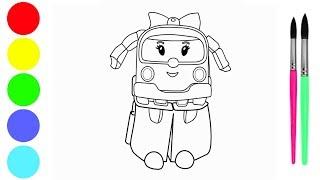 How to draw robocar poli Amber   로보 카를 그리는 방법   Cara Menggambar Poli Amber