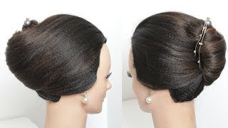Simple French Roll Hairstyle With Hair Stick
