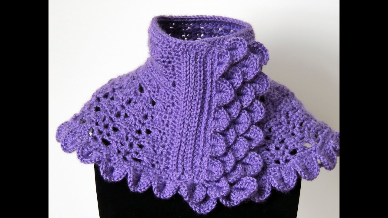 crochet cuello en morado 1 parte 1   youtube