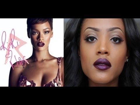 Rihanna Inspired Fall Look- Neutral Eyes. Bold Lip