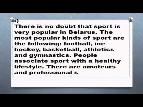 Топик Sport in Belarus Спорт в Беларуси на английском устная тема сочинение рассказ лексика текст