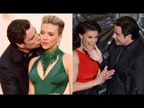 John Travolta gets awkward with Scarlett Johansson, Idina Menzel at Oscars 2015