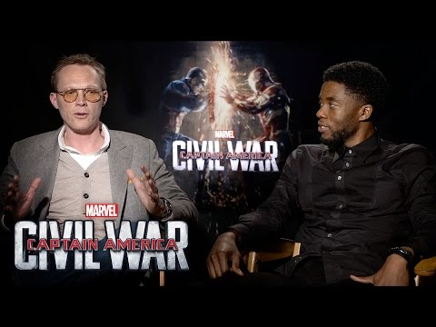 Paul Bettany and Chadwick Boseman on Marvel's Captain America: Civil War