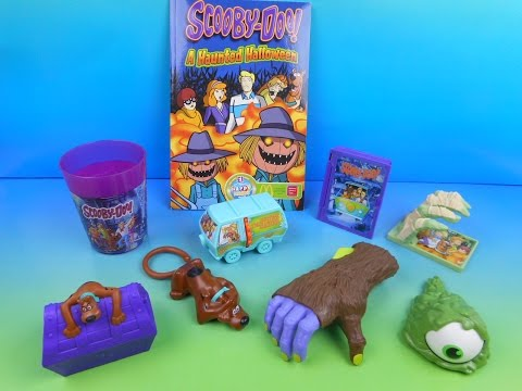 2014 SCOOBY DOO A HAUNTED HALLOWEEN SET OF 8 McDONALD'S HAPPY MEAL KID'S TOY'S VIDEO REVIEW