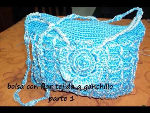 Bolsa con flor tejida a ganchillo en 2 colores parte 1 - Como se hace ganchillo ...