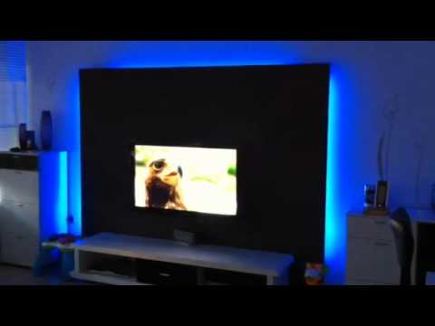 beleuchtete tv wand 4 how to save money and do it yourself. Black Bedroom Furniture Sets. Home Design Ideas