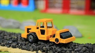 Toys Construction Vehicles - Build City Road - Road Roller,Excavator, Bulldozer, Truck
