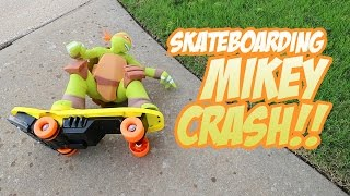 SkateBoarding Mikey CRASH - Fun with RC Car & TMNT Ninja Turtles Toys Unboxing by KidCity