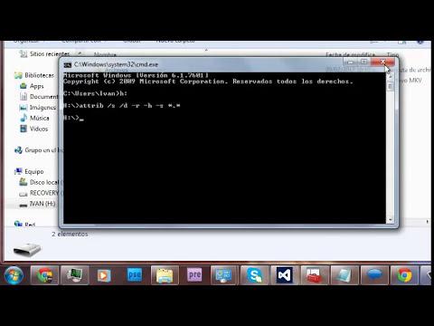 Como ver archivos y carpetas ocultos de la memoria USB mediante el comando attrib