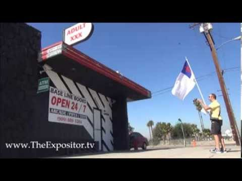 Open-Air preaching @ XXX adult bookstore in San Bernardino, a woman comes out asking for a tract