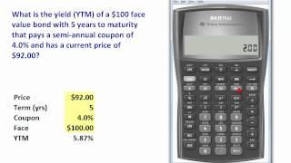 FRM: TI BA II+ to compute bond yield (YTM)