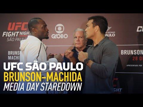 Derek Brunson vs. Lyoto Machida UFC Media Day Staredown - MMA Fighting