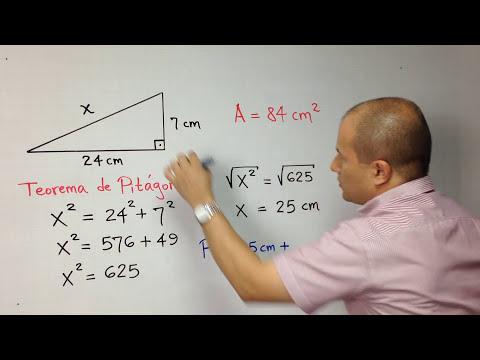 Área y perímetro de un triángulo rectángulo