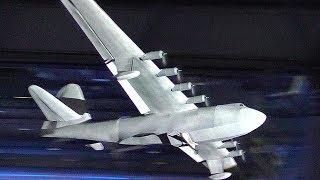 GIGANTIC XXXL RC LIGHTWEIGHT HUGHES H4 HERCULES SPRUCE GOOSE INDOOR FLIGHT BY NIGHT