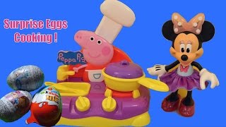 Peppa Pig Kitchen Minnie Mouse cooks Surprise Eggs Barbie Kinder Play-Doh Hello Kitty Frozen Egg