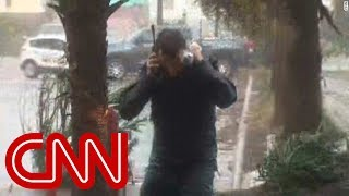 CNN reporter battered by Florence's winds