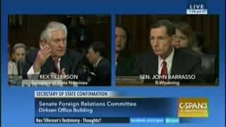Secretary of State nominee Rex Tillerson testifies at confirmation hearing