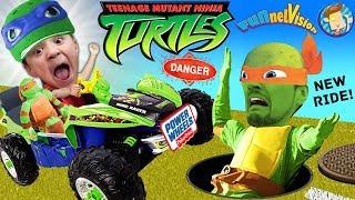 TMNT Surprise Chase w  POWER WHEELS! Teenage Mutant Ninja Turtles Ride On Car Fun FUNnel Vision