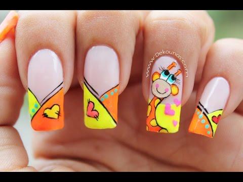Decoración de uñas Jirafa - Giraffe nail art