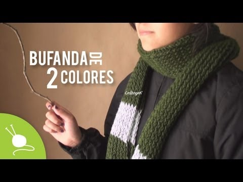 "Bufanda ""Slytherin"" de 2 colores en telar - Como cambiar de color"