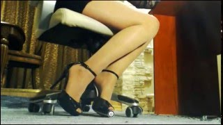 Hot legs in nude pantyhose.