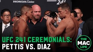 Nate Diaz vs. Anthony Pettis Face Off | UFC 241 Ceremonial Weigh-Ins
