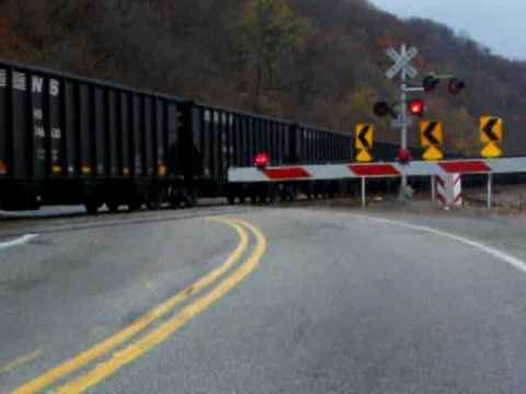 Caught By Surprise-- Ns Operation Lifesaver Leads Coal Drag Through Rte. 837 Crossing video