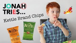 JONAH TRIES Crazy Flavours of Kettle Brand Chips | Taste Test