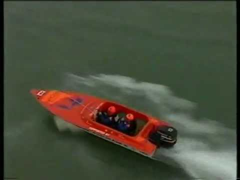 Boat jumps and dives into the water in over 60 knots!