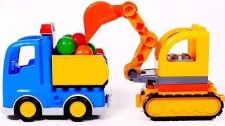 Building Blocks Toys for Children Learn Colors with Construction Vehicles Dump Truck and Excavator