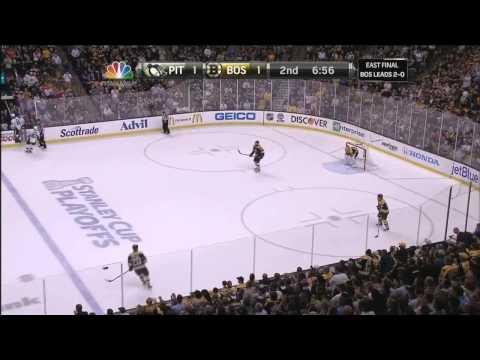 Gregory Campbell hard core after slapshot to leg . 6/5/13 Pittsburgh Penguins vs Boston Bruins NHL
