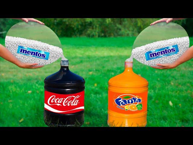 Experiment: Coca Cola & Fanta VS Giant Balloons of Mentos. Super Reaction!
