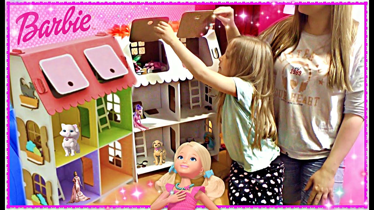 House for Barbie. three story with dolls - YouTube