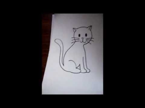 dibujo para principiantes-el gato mas facil - YouTube