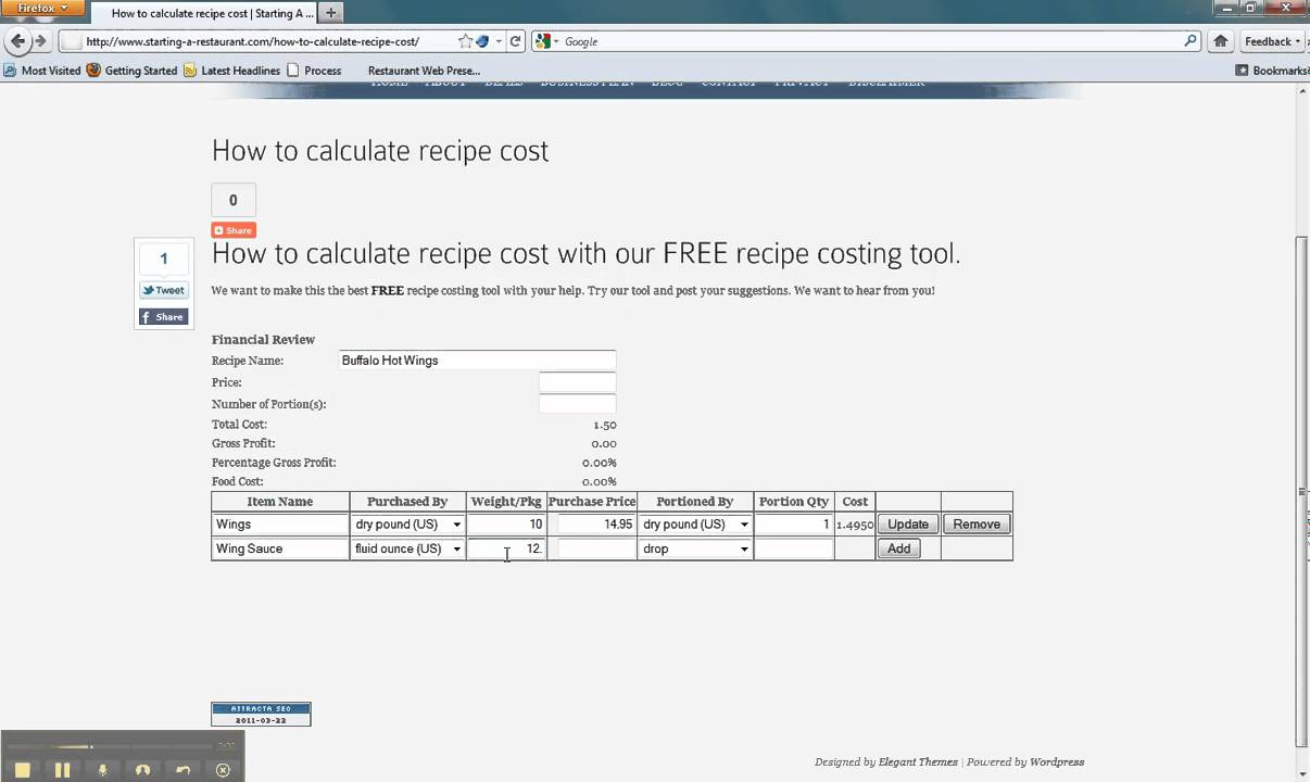 How to calculate recipe cost - YouTube