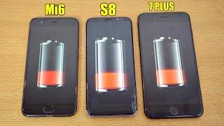 Xiaomi Mi6 vs Galaxy S8 vs iPhone 7 Plus - Battery Drain Test! (4K)