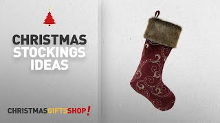 "Top Christmas Stockings With Fur: Valery Madelyn 21"" Luxury Collection Sequins Christmas Stocking"