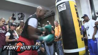 Floyd Mayweather Jr. vs. Canelo Alvarez-Mayweather full heavy bag workout