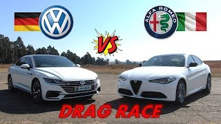 Italian vs German Soul - Alfa Romeo Giulia vs VW Arteon + DRAG RACE