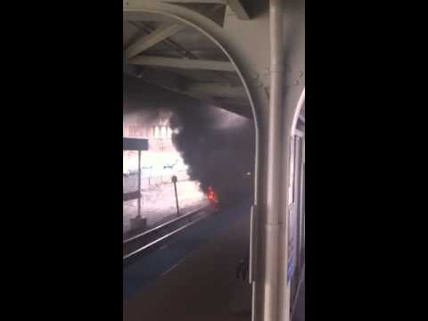 CTA TRAIN CATCHES FIRE BLOWS UP