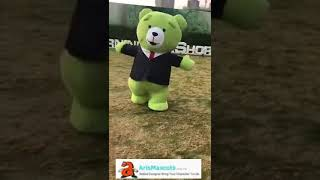 inflatable costume green teddy bear mascot costume walking in the park funny mascot costumes