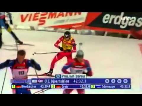 Ole Einar Bjørndalen vinner syvende skiskyting gull