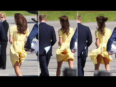 Catherine, Duchess of Cambridge, displays her cheeky sense of humour at the Calgary airport. Some in the media said she looked a little thin but give her a b...