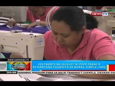 BP: Vestments na isususot ni Pope Francis, gawa sa telang mula sa Divisoria