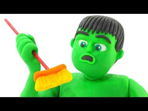 Hulk & Frozen Elsa Use Vacuum Cleaner - Superhero Babies Play Doh Cartoons & Stop Motion Videos