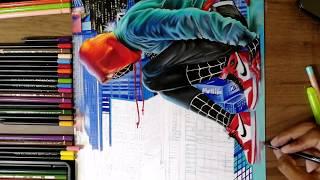 Desenhando o Homem-aranha-Miles Morales - Spiderverse (speed drawing)