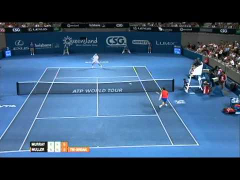 Andy Murray v Gilles Muller Highlights Men's Singles Rd 2: Brisbane International 2012