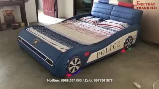 Mẫu giường ô tô cảnh sát dành cho bé trai có âm nhạc